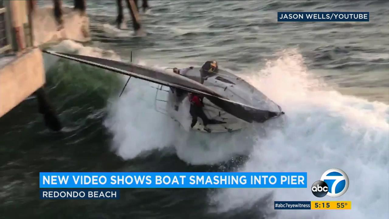 A witness footage shows a sailboat capsizing near the Redondo Beach Pier on Thursday, March 30, 2017.