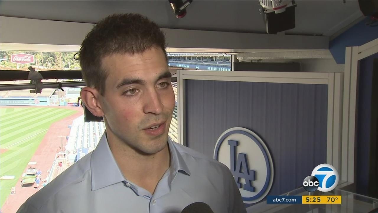 Sportscaster Joe Davis is shown inside his new Dodgers booth.