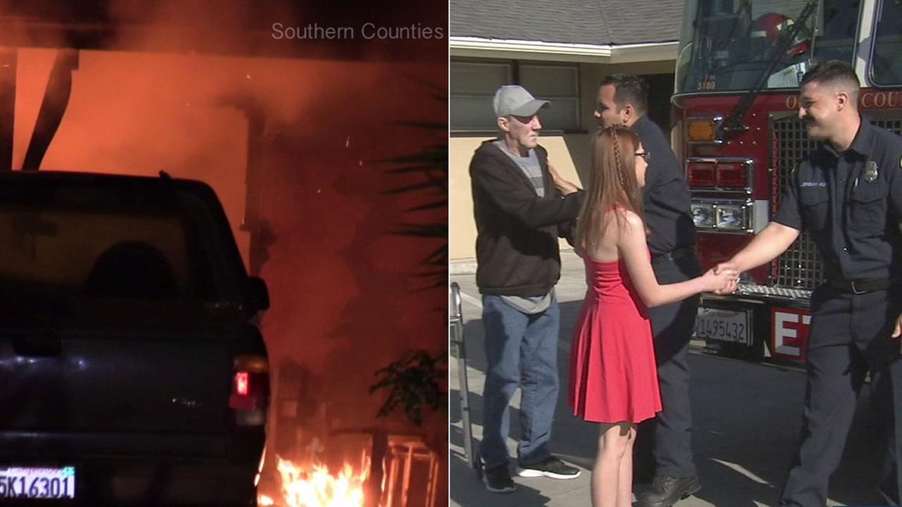 It was an emotional reunion on Saturday in Santa Ana between a father and teen and the firefighters who saved them from a fire that claimed the life of the young girls mother.