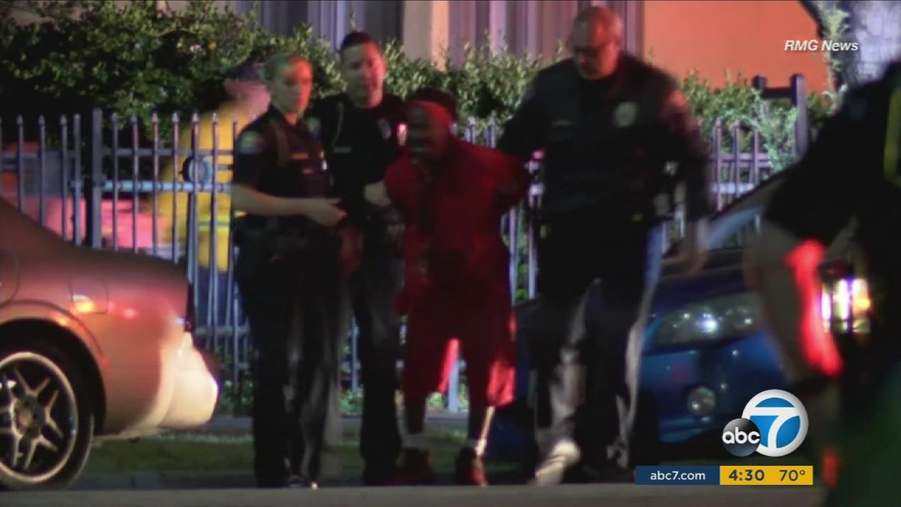 A murder suspect is detained after a fatal shooting at a home in Pasadena.