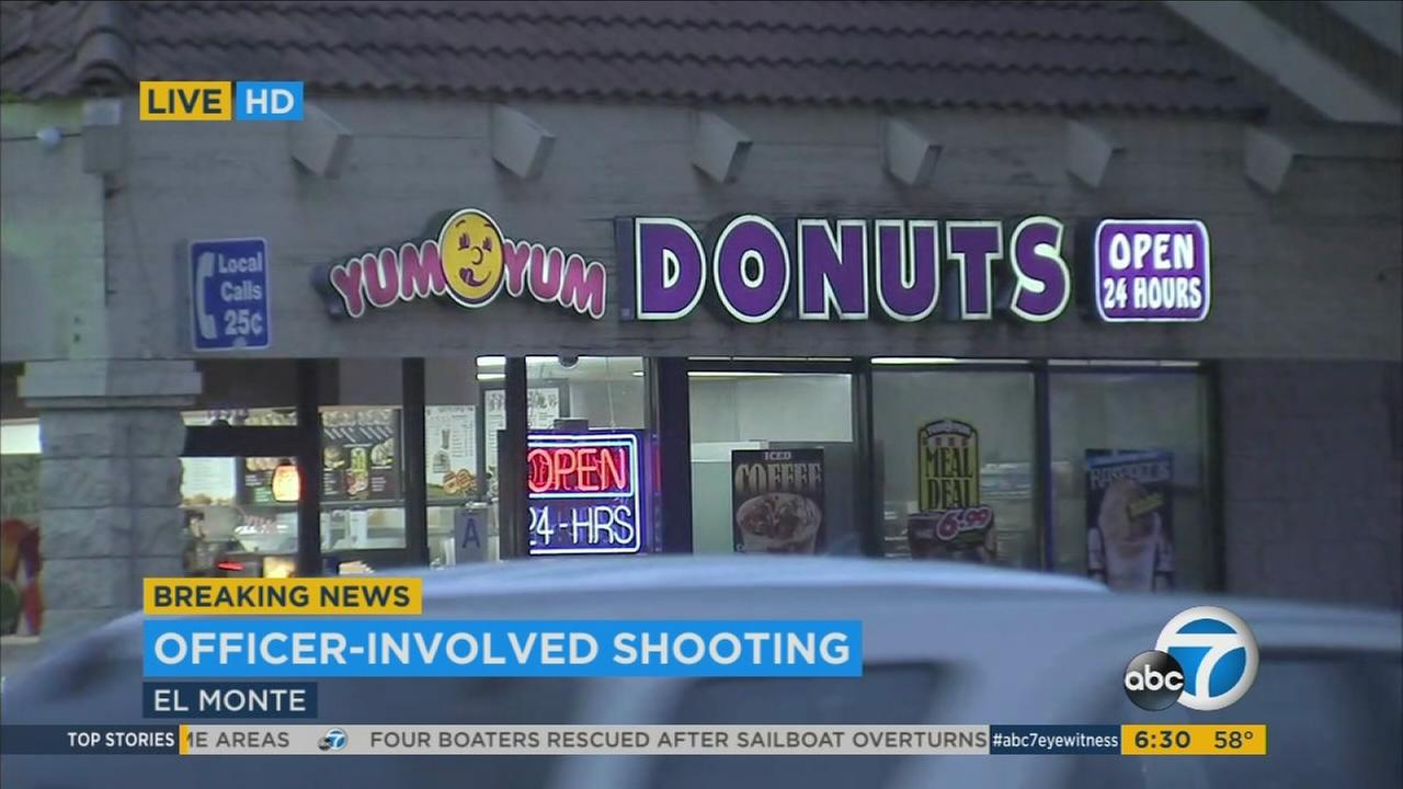 A Yum Yum Donuts where a man confronted El Monte police with a knife on Monday, April 3, 2017.