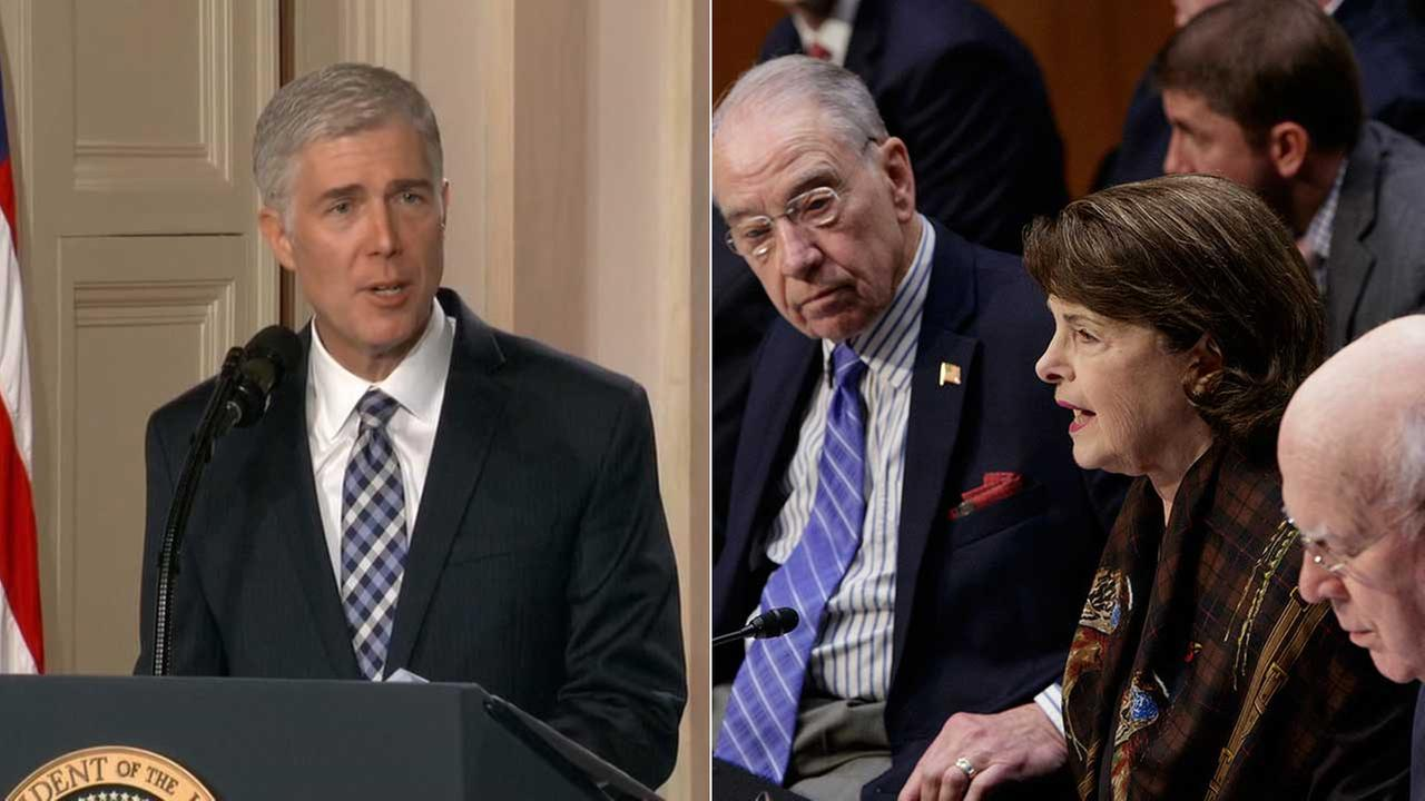 President Donald Trumps Supreme Court nominee Neil Gorsuch and Sen. Dianne Feinstein, D-Calif., are seen in this split photo. (AP photo, right, by J. Scott Applewhite)
