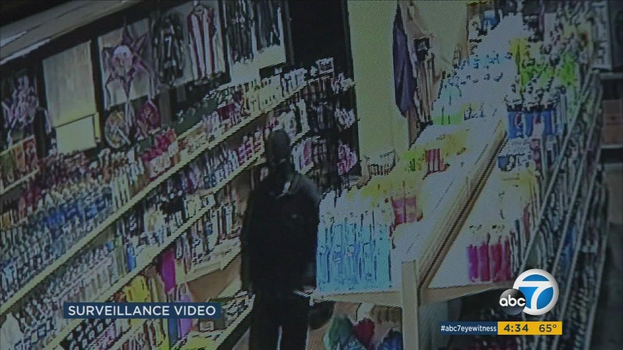 Surveillance video shows a burglar hitting a mini market in Arleta.