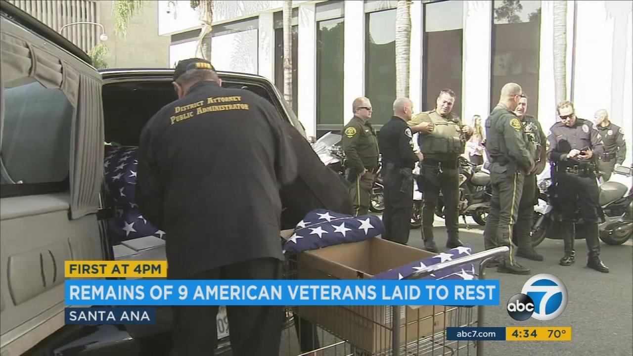 The remains of nine veterans from Orange County were laid to rest at the Riverside National Cemetery on Tuesday, April 4, 2017.
