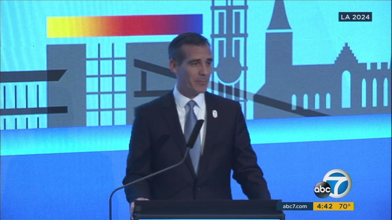 Los Angeles Mayor Eric Garcetti is shown during a speech he made in Denmark to get L.A. chosen as the 2024 Olympics host city.