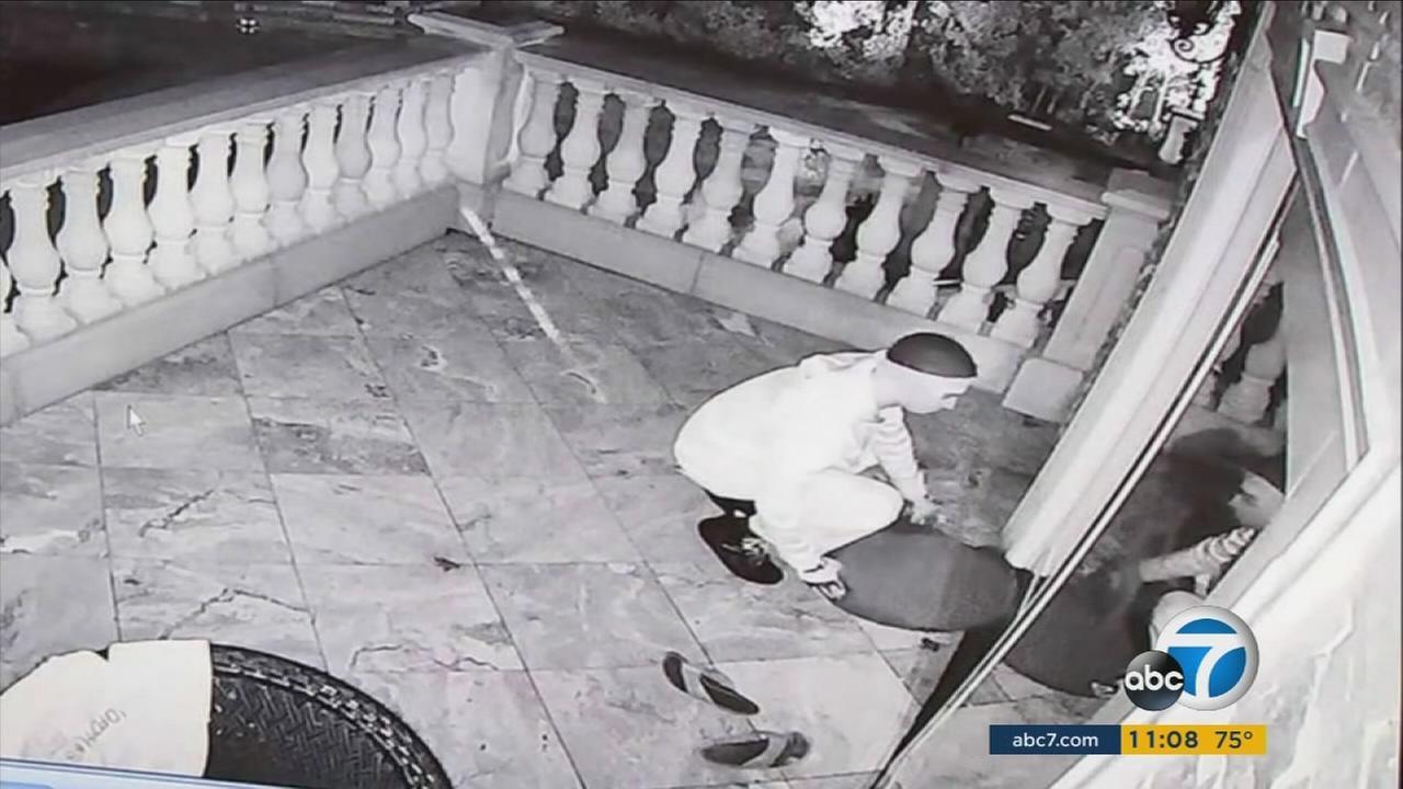 Knock-knock burglars were recorded on surveillance video.
