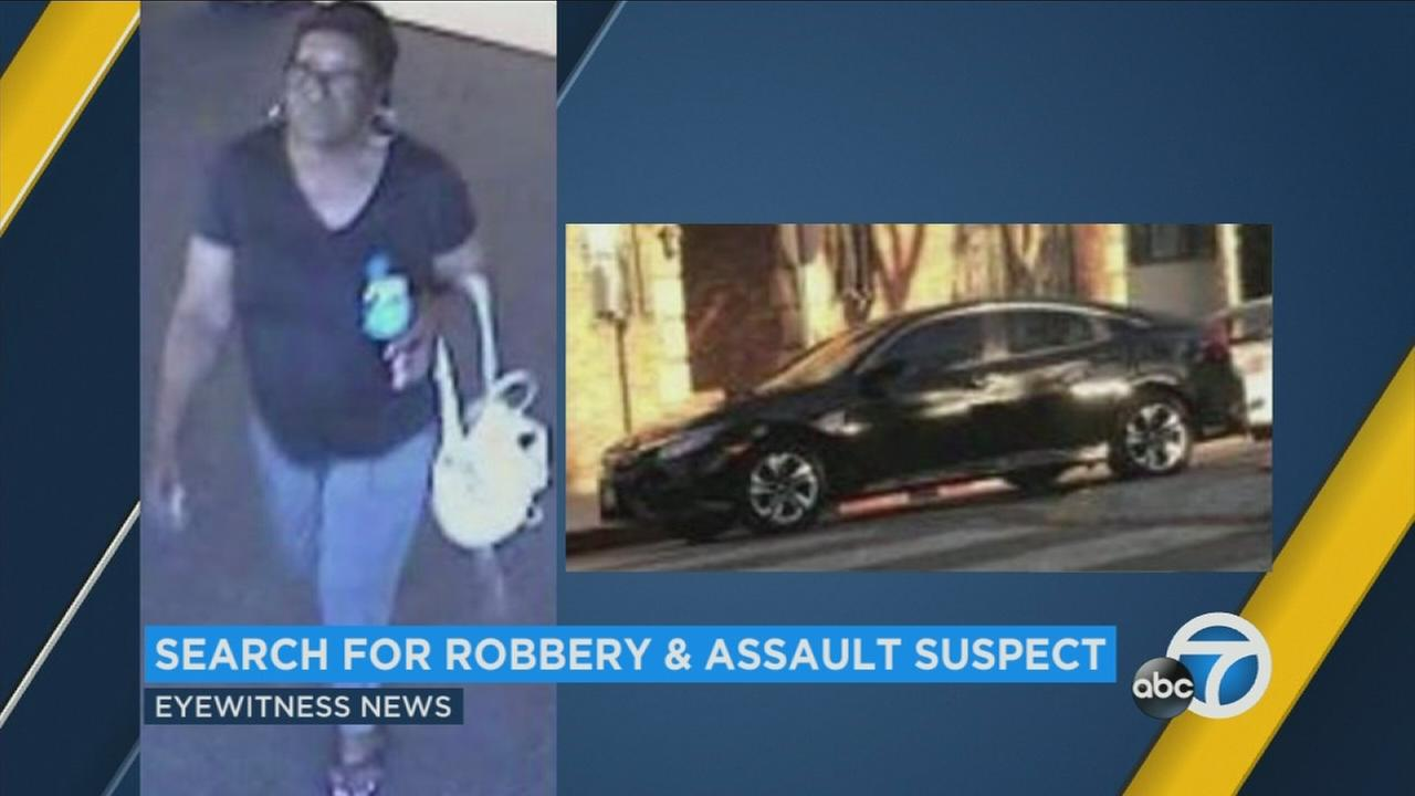 Police on Wednesday were on the hunt for a woman accused of stealing a persons phone and then nearly running the victim over with her car in West Hollywood.