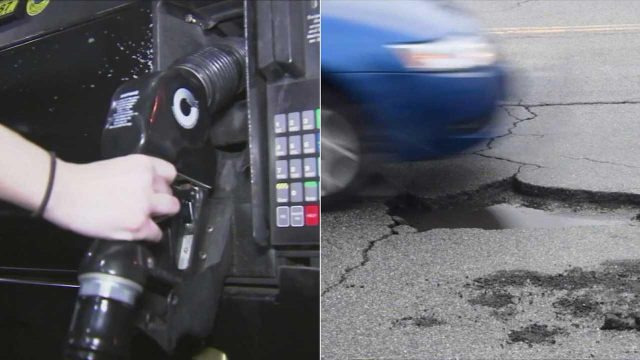 A gas pump and a pothole are seen in these file photos.