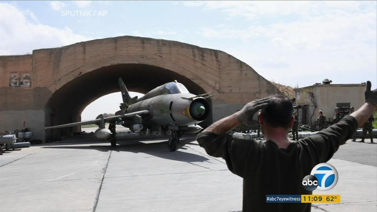 A plane is shown during the Syria conflict.