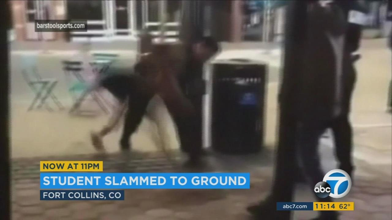 A video shows Colorado police slamming a 22-year-old female college student to the ground.