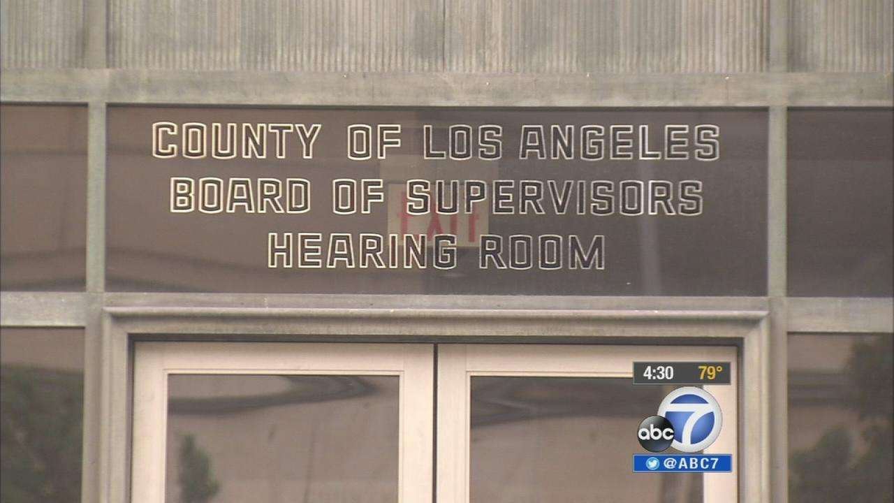 The entrance for a Los Angeles County Board of Supervisors hearing room.