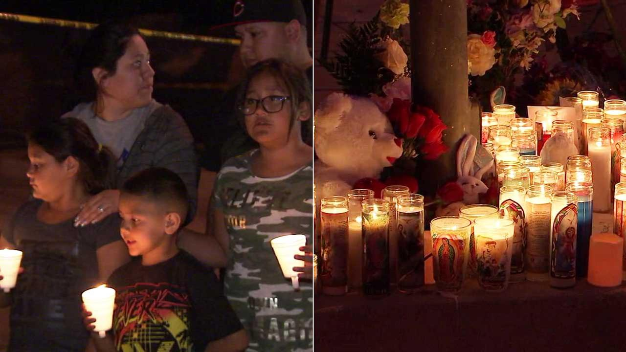 Community members brought candles, flowers and stuffed animals to pay respects to the victims slain at North Park Elementary School in San Bernardino.