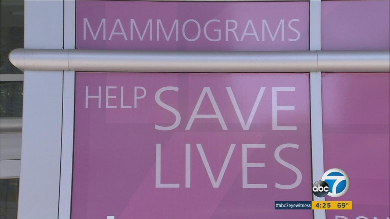 A sign shows a phrase saying, Mammograms help save lives!