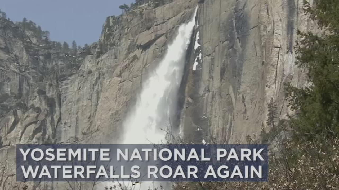 A waterfall at Yosemite National Park is shown in a photo.
