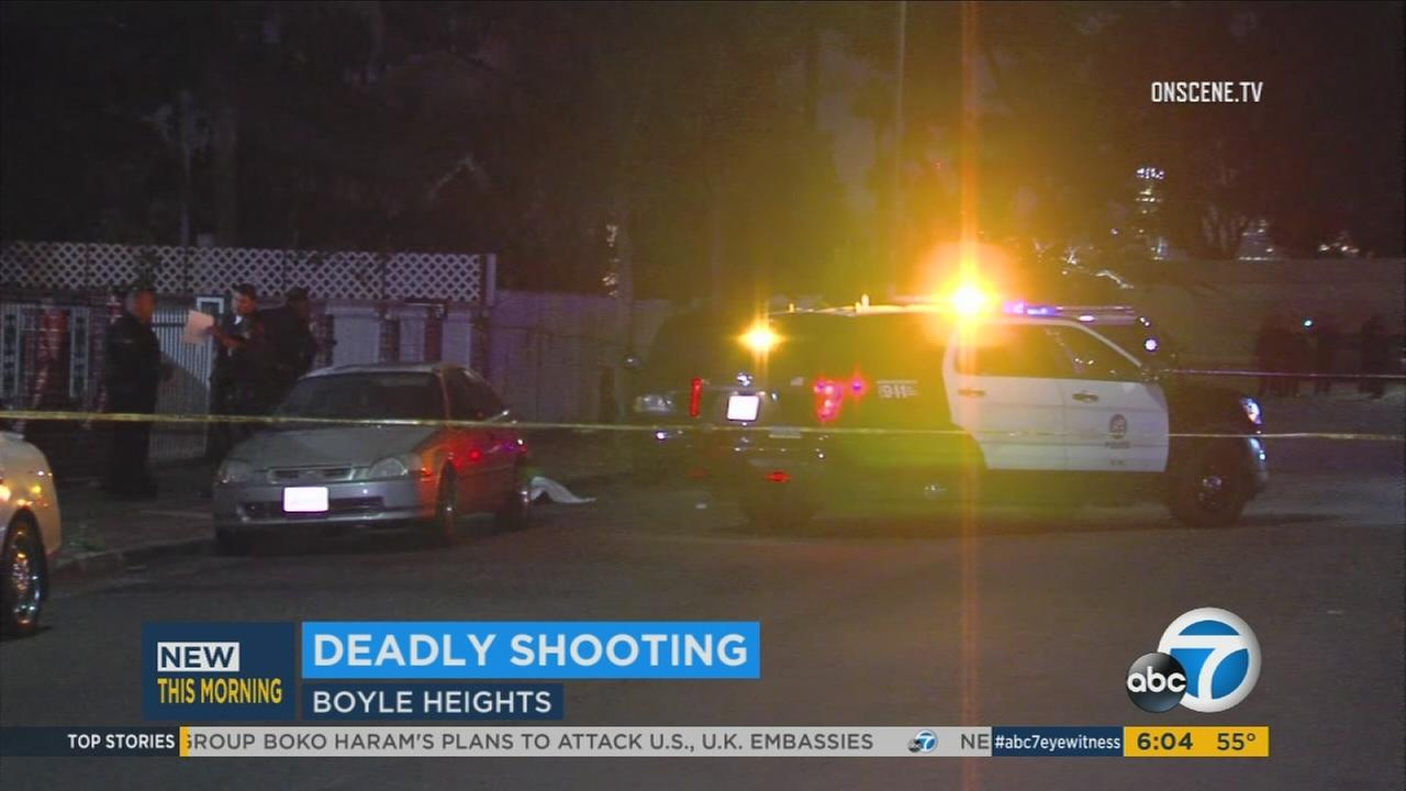 Los Angeles police are seen in Boyle Heights after a man was killed in an early morning shooting on Thursday, April 13, 2017.