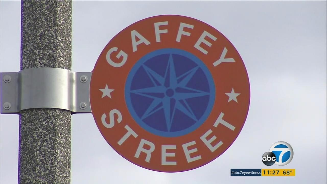 A decorative sign for Gaffey Street is seen with an extra E in the word street.