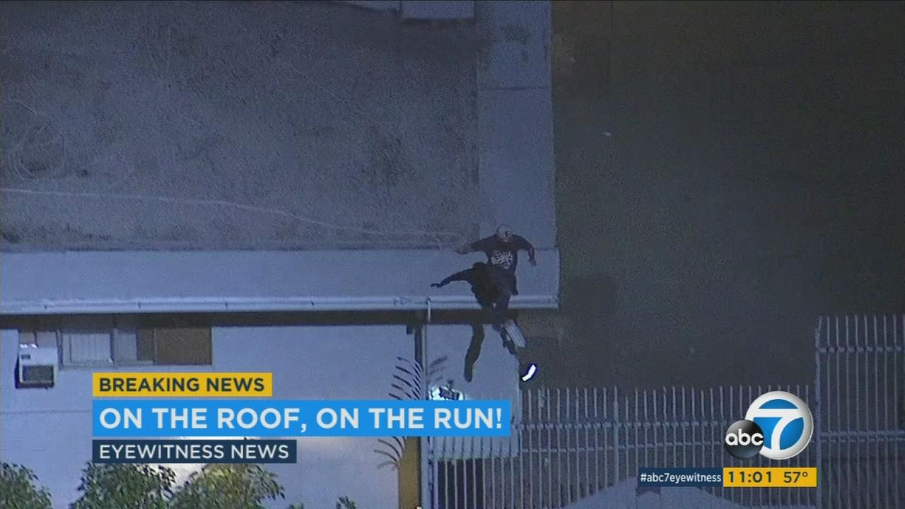 Stolen-car suspect flees over rooftops in North Hills