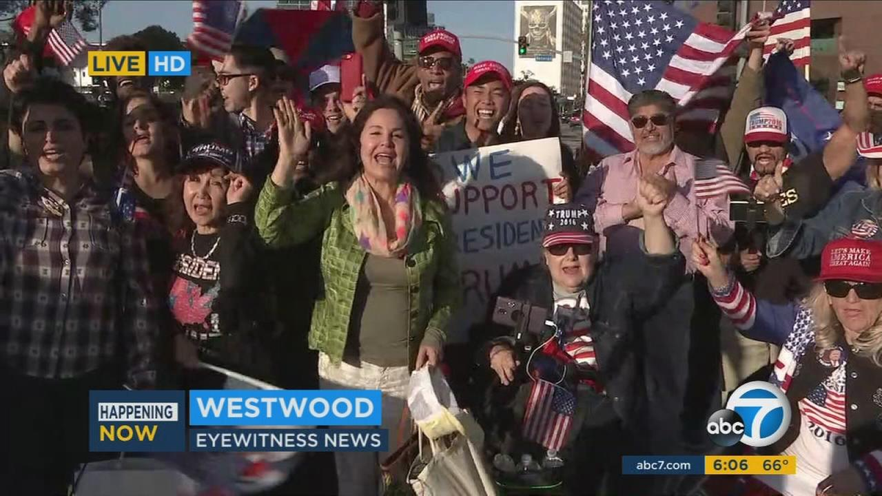 A few dozen supporters of President Donald Trump rallied in Westwood to show their support for the president and his policies.