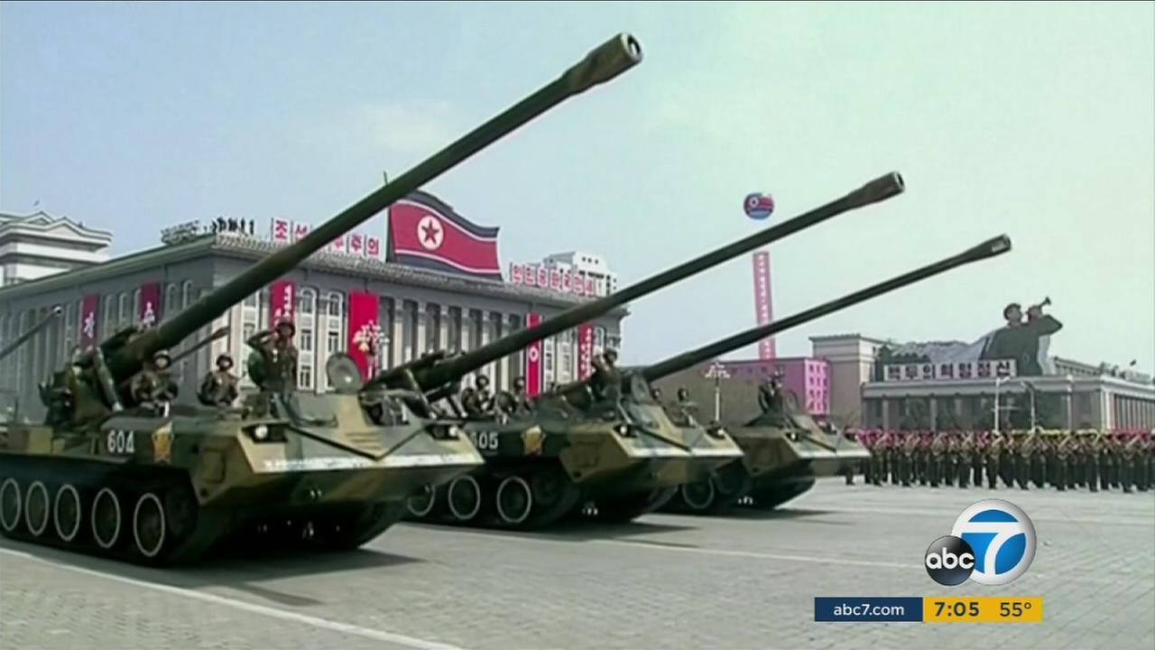 A file photo on Saturday, April 15, 2017, shows military tanks paraded across Kim Il Sung Square during a military parade in Pyongyang, North Korea.