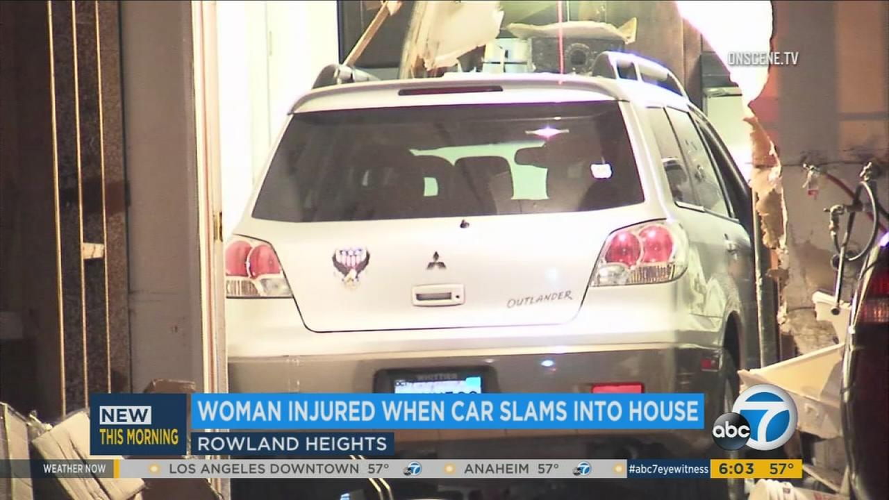 A white SUV seen inside a Rowland Heights home after crashing into it on Sunday, April, 16, 2017.