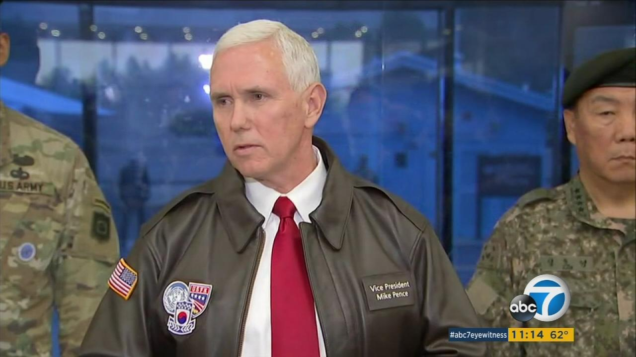 U.S. Vice President Mike Pence speaks at Panmunjom in the Demilitarized Zone, South Korea, Monday, April 17, 2017.
