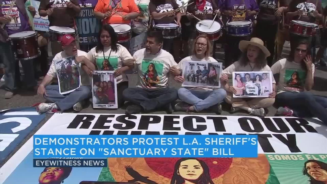 Demonstrators protest LA Sheriff Jim McDonnell's 'sanctuary state' bill stance