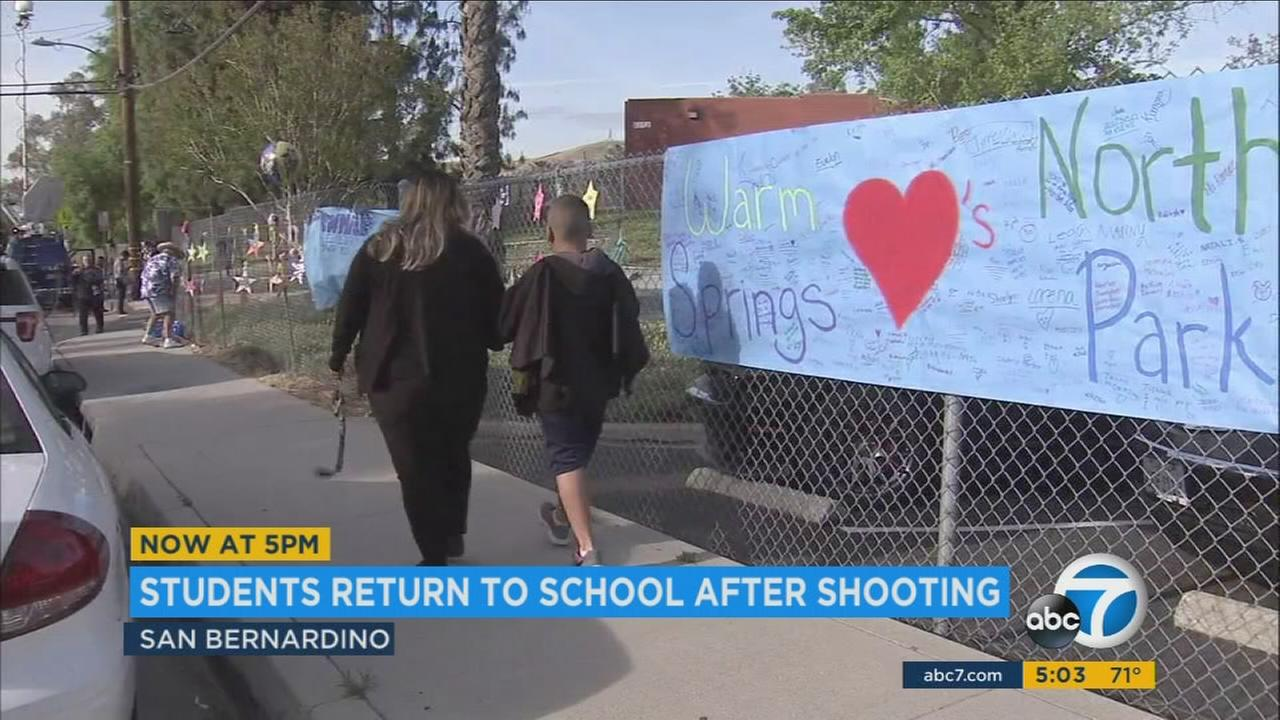 Students at North Park Elementary School returned to school on Monday exactly one week after a special needs teacher and her student were shot to death in a classroom.