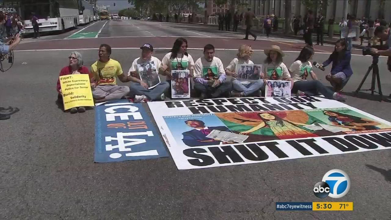 Demonstrators held a rally outside the L.A. County Sheriffs Department headquarters on Monday.