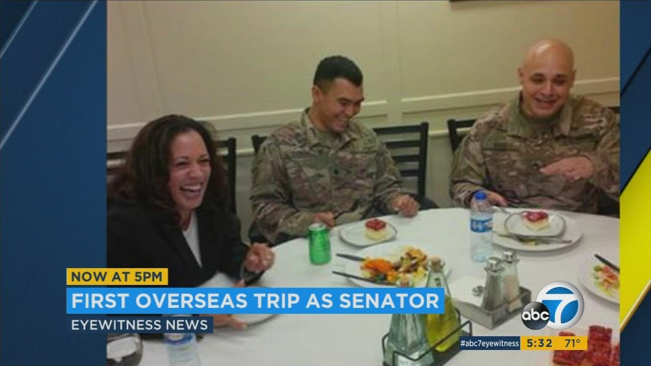 California Sen. Kamala Harris is back from her first foreign trip since taking office, a visit to the Middle East to meet with American troops and observe a Syrian refugee camp.