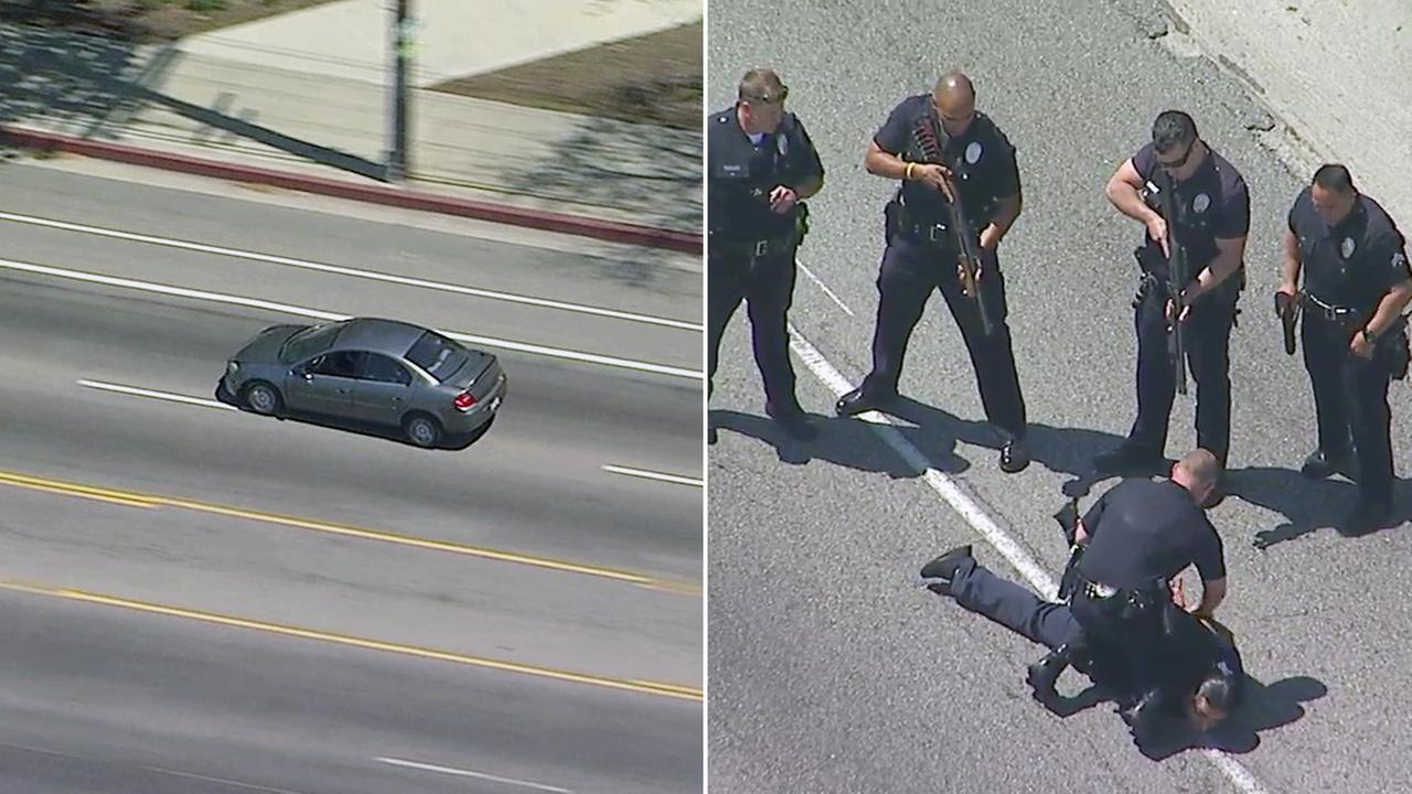 A suspect surrendered after a high-speed police chase through South Los Angeles on Tuesday, April 18, 2017.