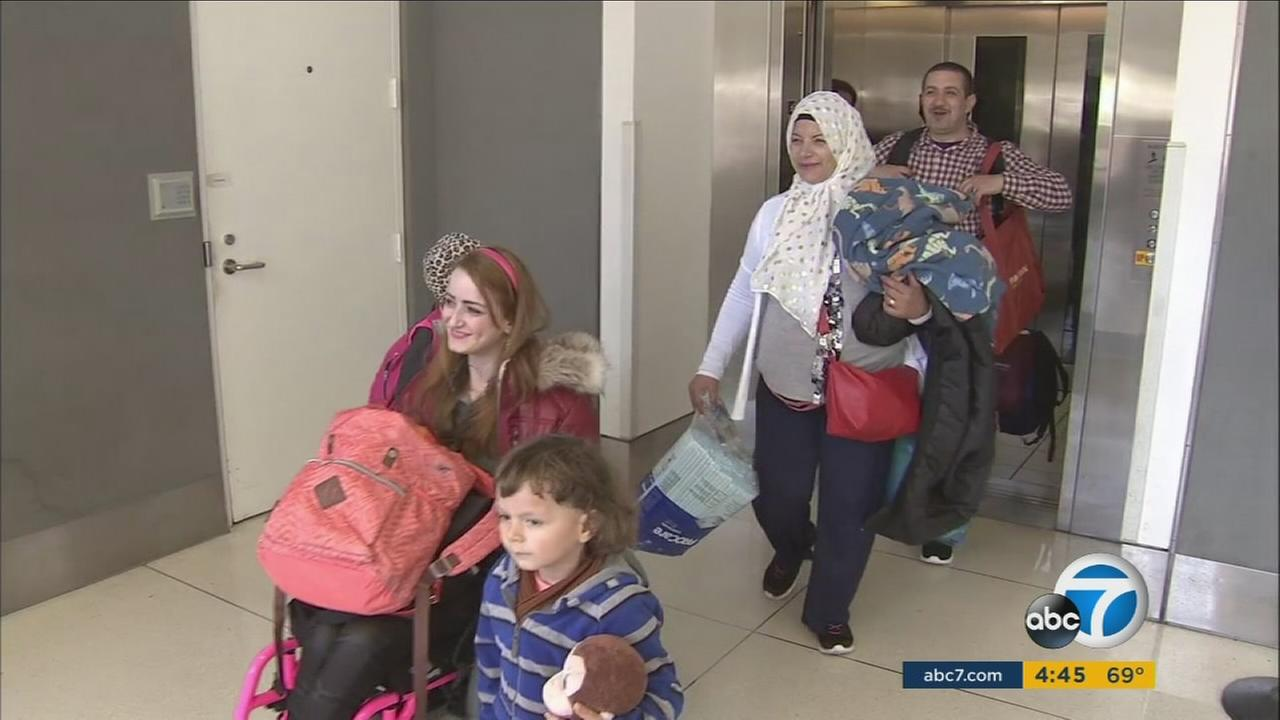 A family of Syrian refugees are welcomed at the Ontario Airport on Wednesday, April 19, 2017.