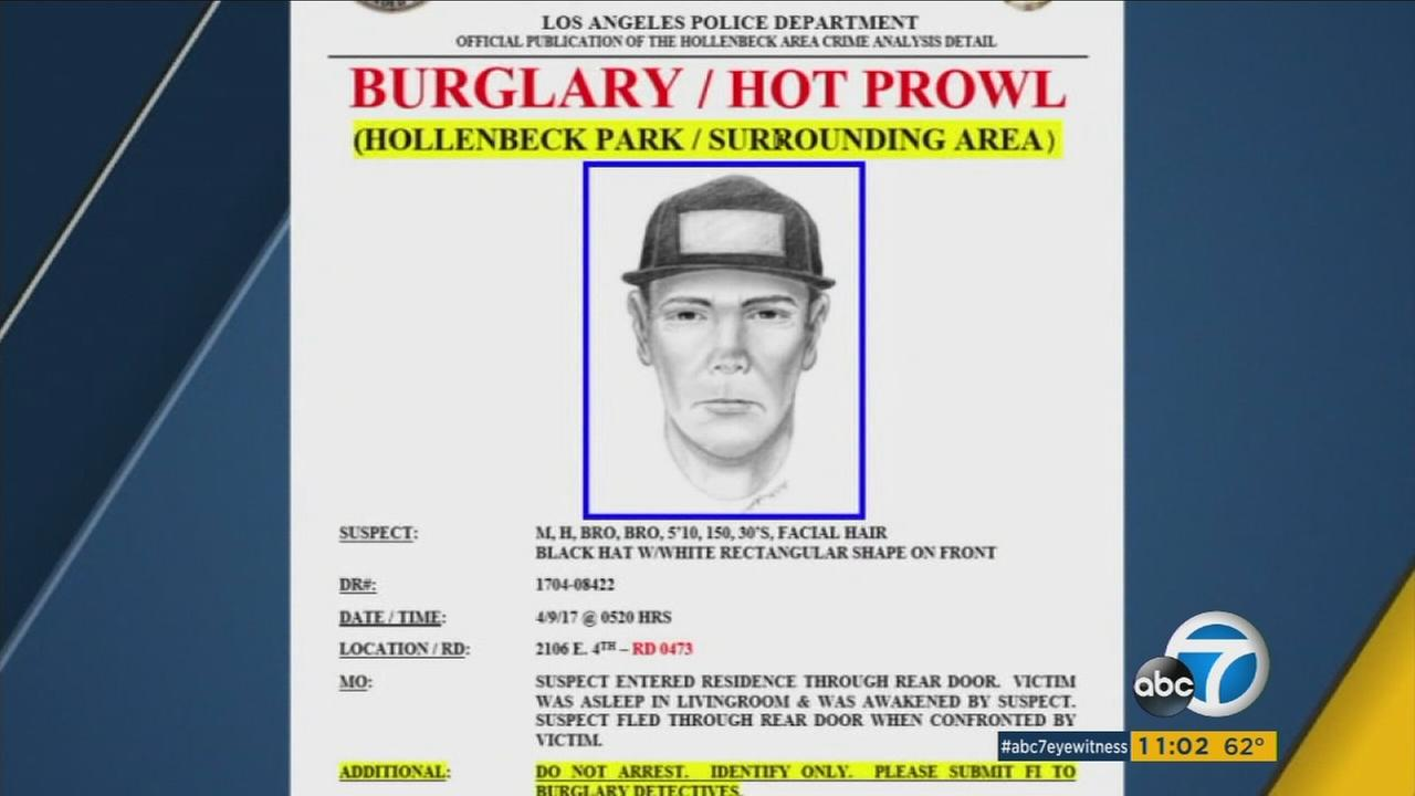 Police are distributing a flyer about a hot prowl burglary suspect who has hit multiple homes in the Boyle Heights area.
