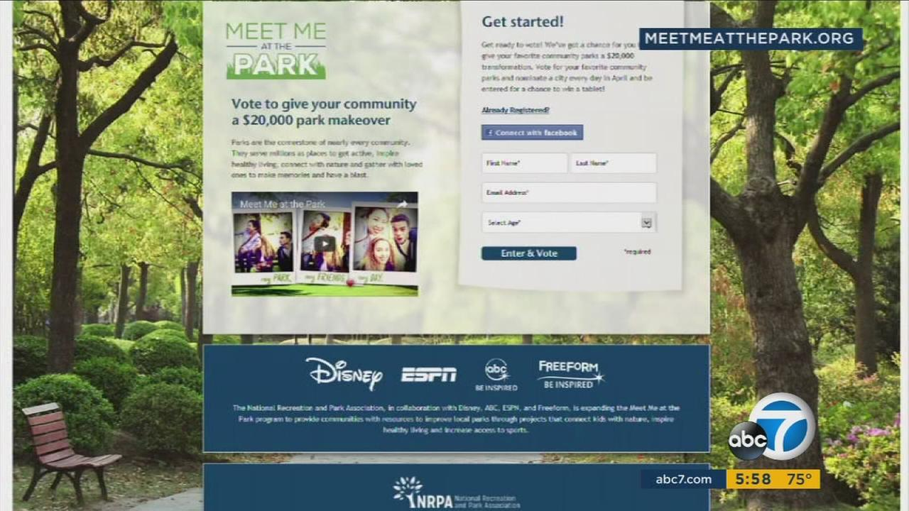 The website Meet Me At the Park is shown.