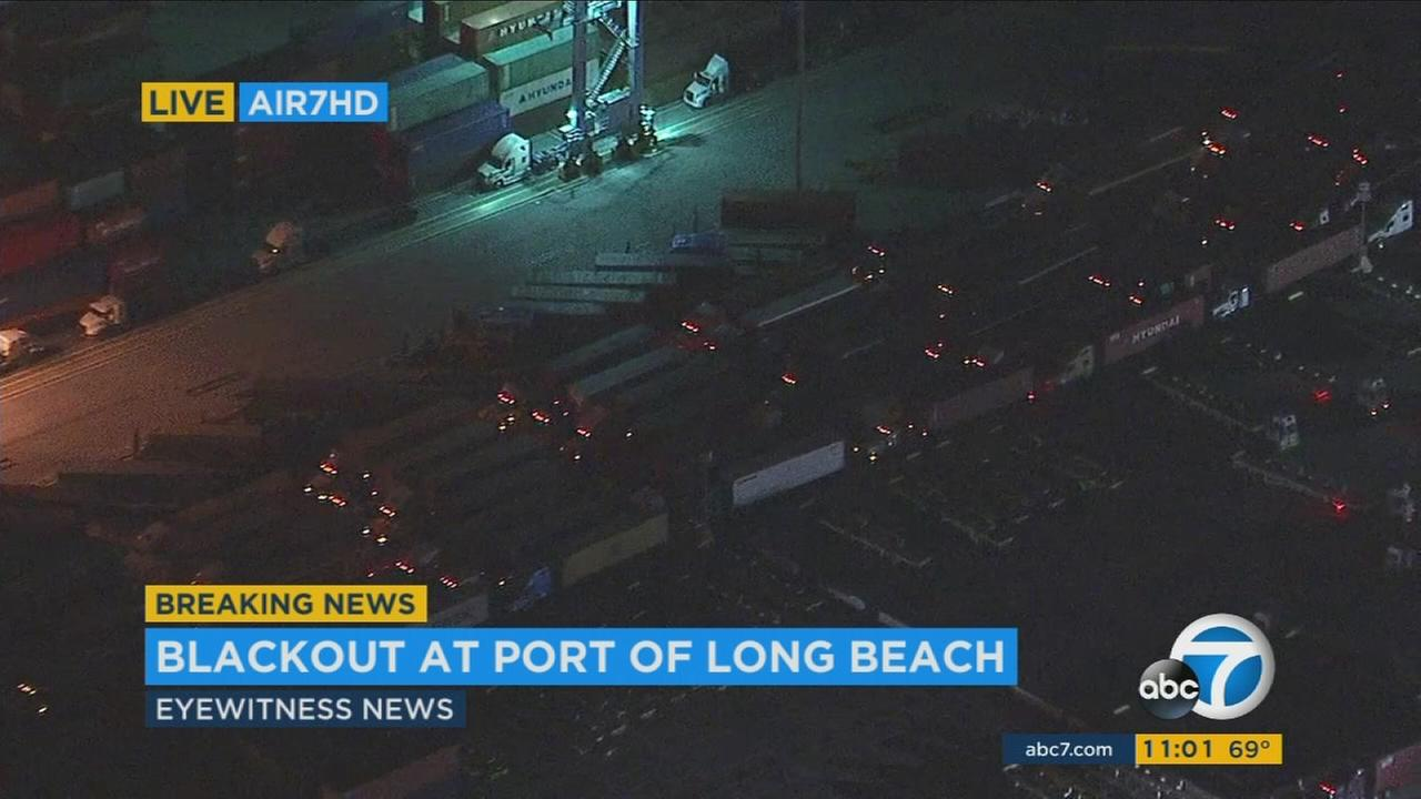 Hundreds of trucks were stranded at the Port of Long Beach Thursday night after power was knocked out at part of the massive facility.