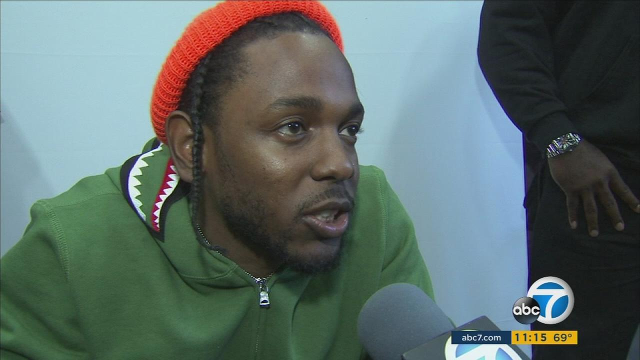 Rapper Kendrick Lamar said he appeared in Compton to show appreciation for his hometown.