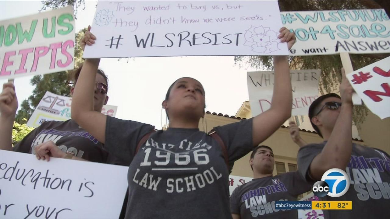 Students at Whittier Law School protest the sudden closure of the program on Friday, April 21, 2017.