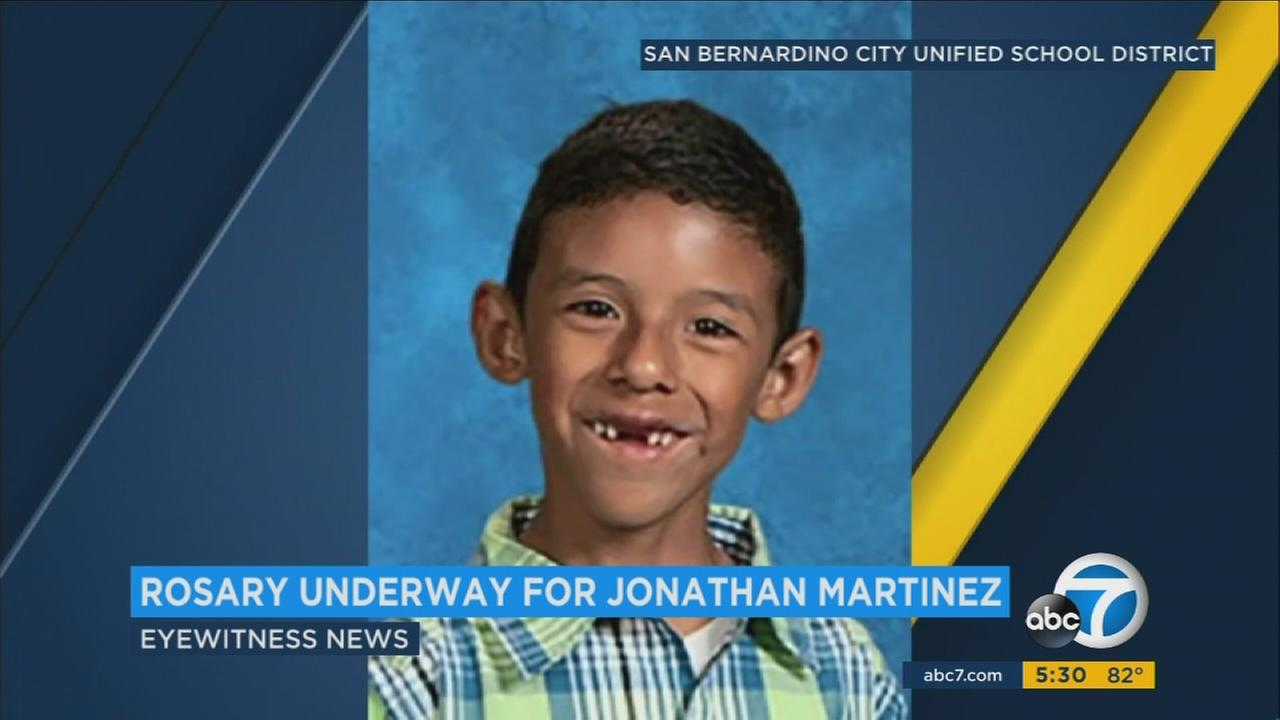 A private rosary service was held Friday for Jonathan Martinez, the 8-year-old killed in a murder-suicide at his San Bernardino elementary school April 10.