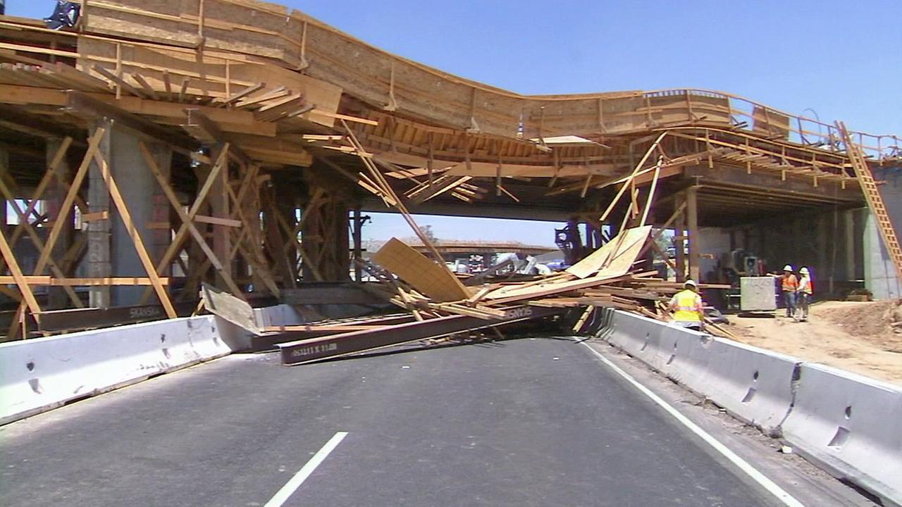 A partial bridge collapse is seen after a crash in Perris on Tuesday, July 15, 2014.
