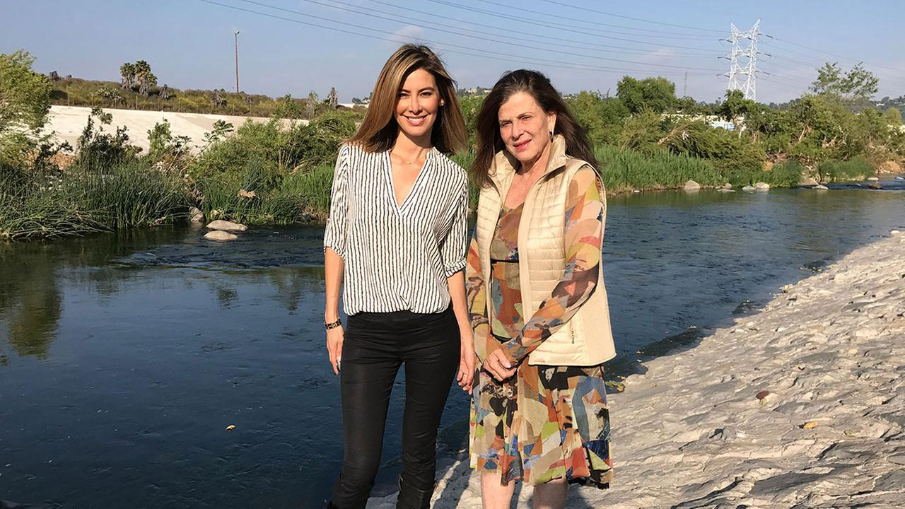 Vista L.A. host Patricia Lopez is shown with urban designer and architect Mia Lehrer near the Los Angeles River.