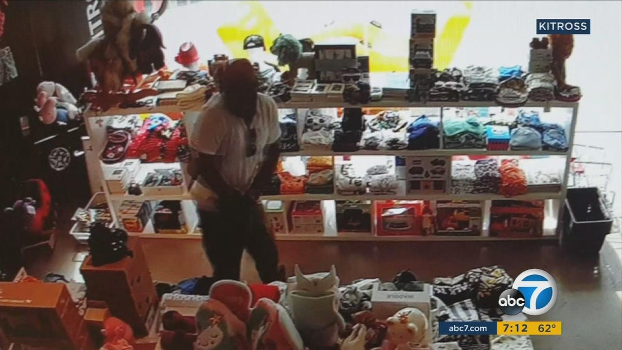 A man caught on camera stuffing Kitross kids clothing items down his pants at the store in Beverly Grove on Tuesday, April 18, 2017.