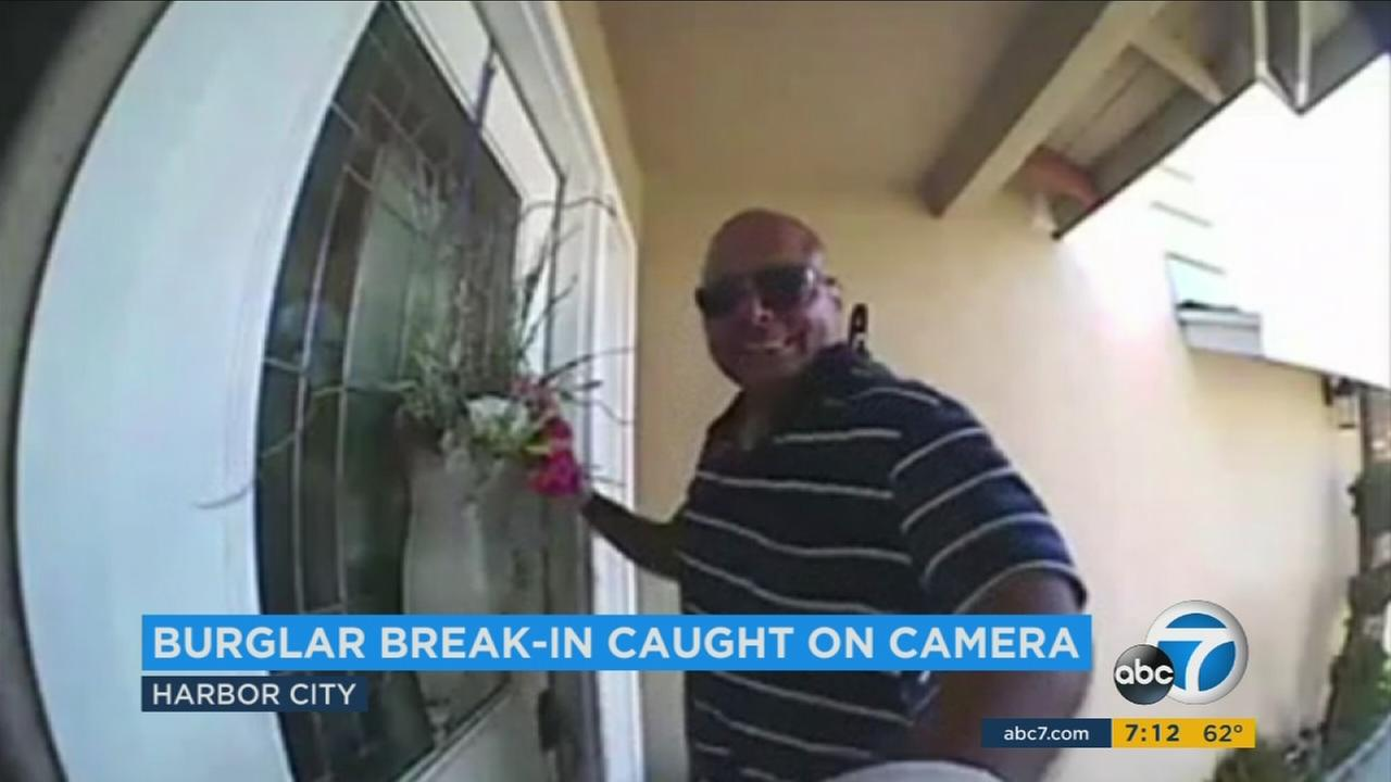 Home security video shows this man breaking into a home in Harbor City.