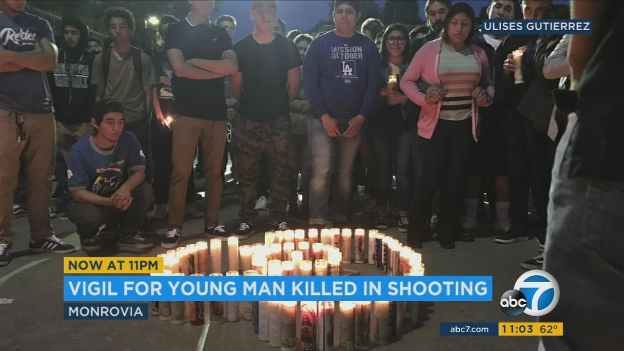 A vigil was held Sunday for Oscar Andrew Garcia, 18, of Monrovia, who was killed in a shooting Saturday night.