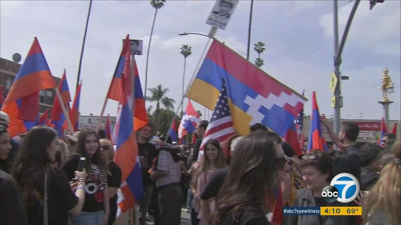 Tens of thousands of people participated in rallies and marches in Los Angeles on Monday to commemorate the 102nd anniversary of the Armenian genocide.