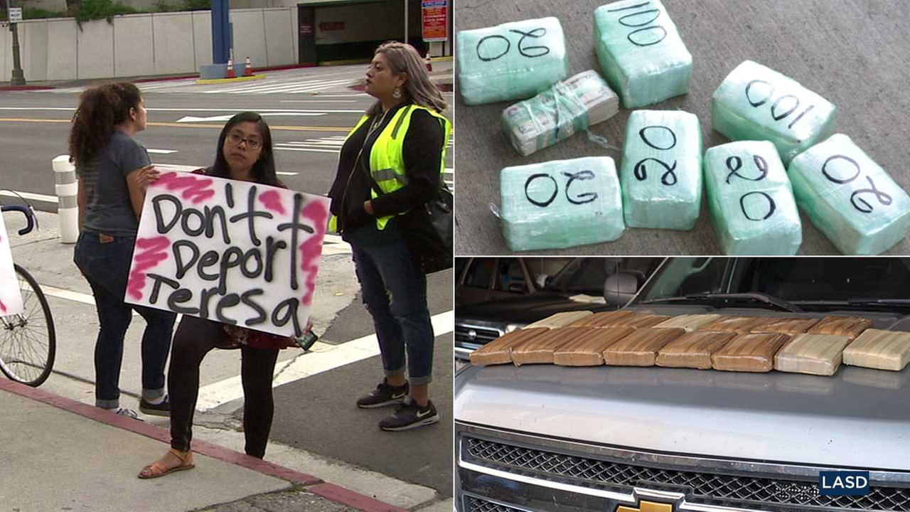 (Left) A demonstrator holds protests the detention of Teresa Vidal-Jaime in downtown L.A. on Tuesday, April 25, 2017. (Right) Items seized from a drug bust in Boyle Heights.