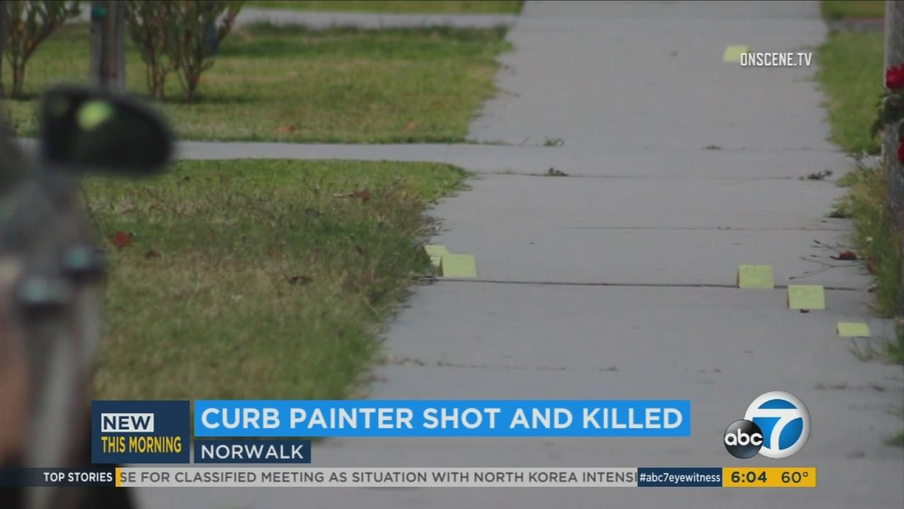 A 50-year-old man was shot and killed early Tuesday evening as he was going door to door offering to paint addresses on curbs in a Norwalk neighborhood, authorities said.