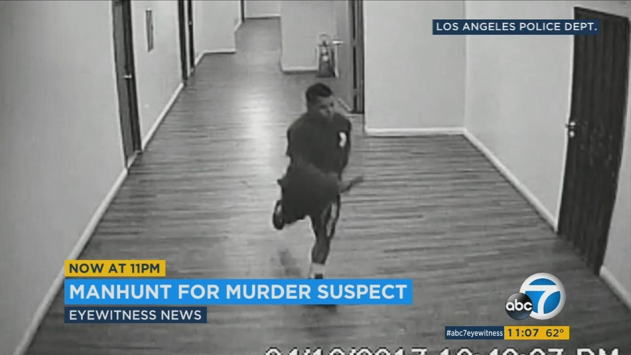 Police released surveillance video of a man suspected of stabbing another man to death after an argument in a Westlake district building two weeks ago.