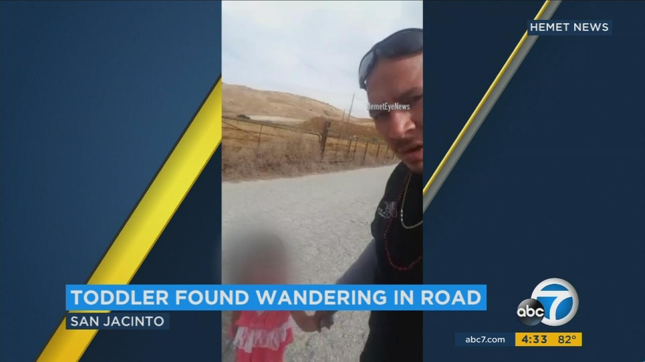 An Inland Empire truck driver is being hailed as a hero for saving a toddler found wandering alone on a busy road.