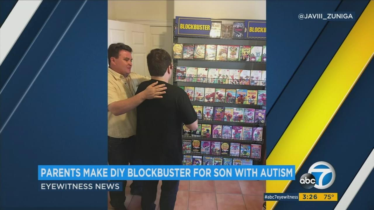 Most Blockbuster video stores disappeared years ago, but the Internets collective heart is melting over the story of an autistic teens family who created a DIY version in their home.