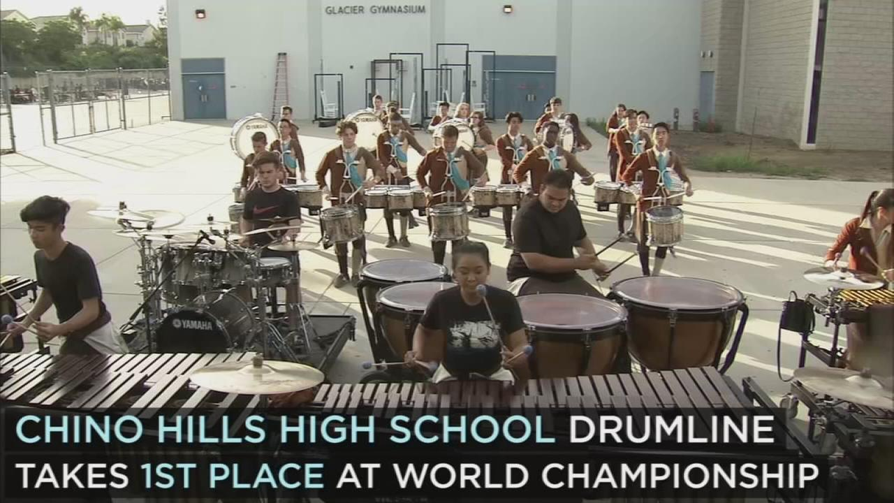 The drumline at Chino Hills High School not only won the WGI Percussion World Championships, but it also broke the competitions record for highest score.