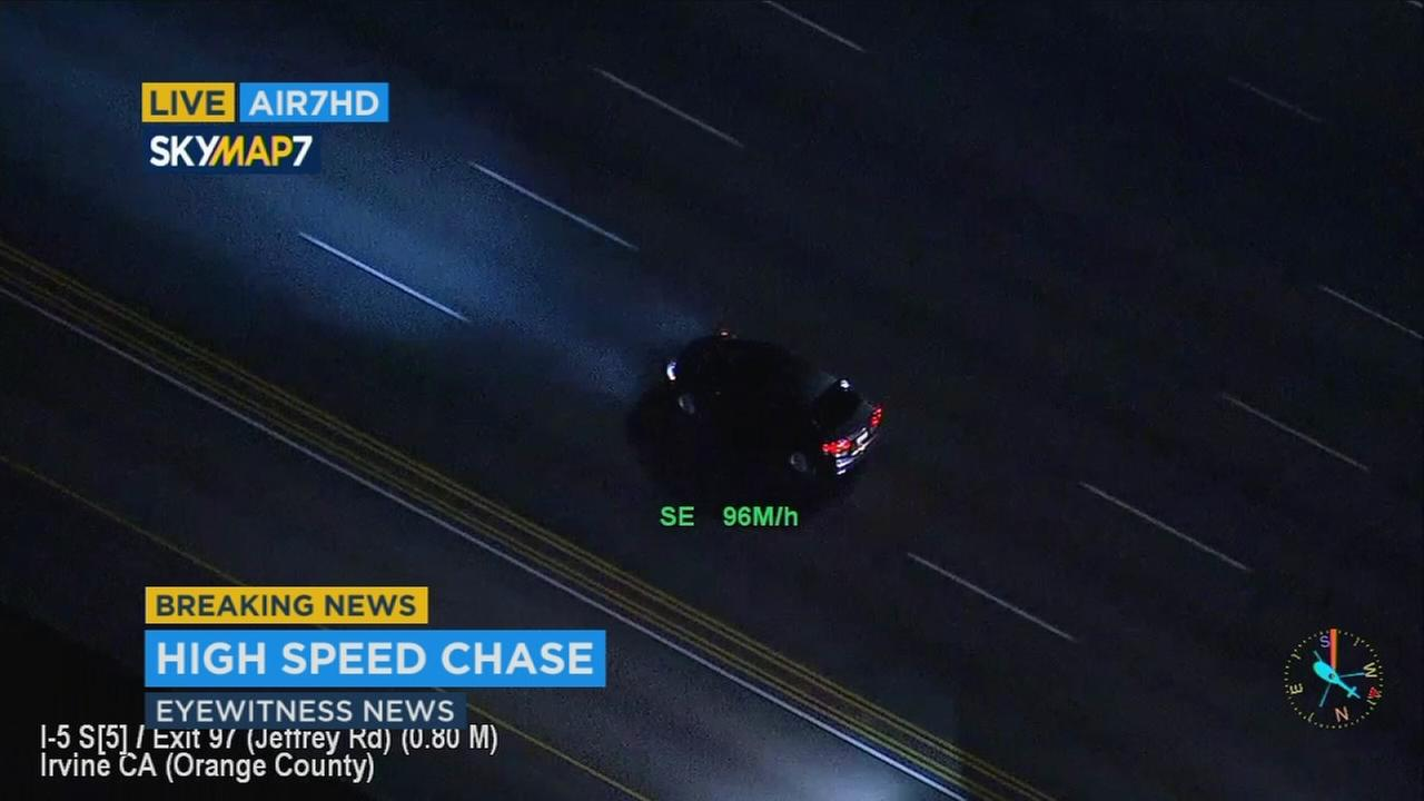 Authorities chased a suspect in a high-speed pursuit through Orange County on Friday, April 28, 2017.